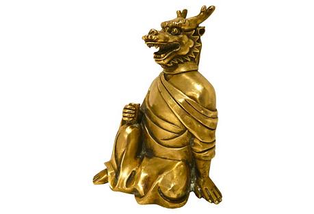 Early-20th-C. Brass Dragon Monk