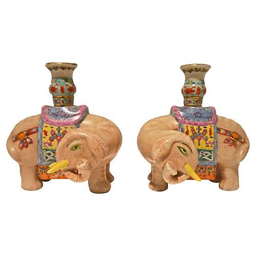 Hand-Painted Elephant Candleholders, S/2