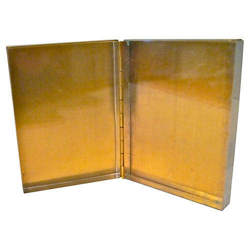 Lucite & Brass Folding Picture Frame