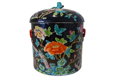 Hand-Painted Floral Ginger Jar