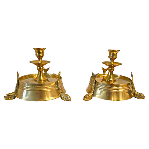 Brass Dolphin Candleholders, Pair