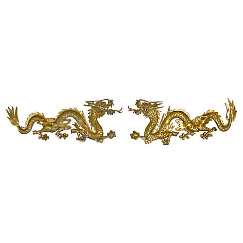 Oversize Brass Wall Hanging Dragons, S/2