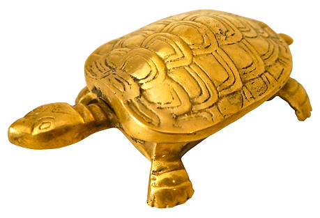 Brass Hinged Turtle Trinket Box