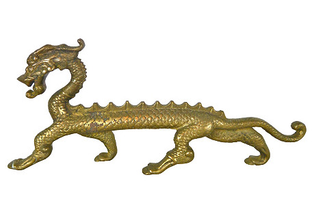 Solid Brass Dragon Doorstop