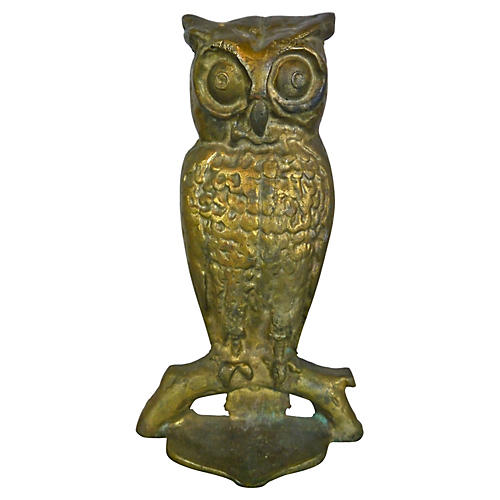 Heavy Solid Brass Owl Doorstop