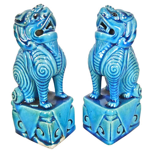 '60s Turquoise Foo Dogs, S/2