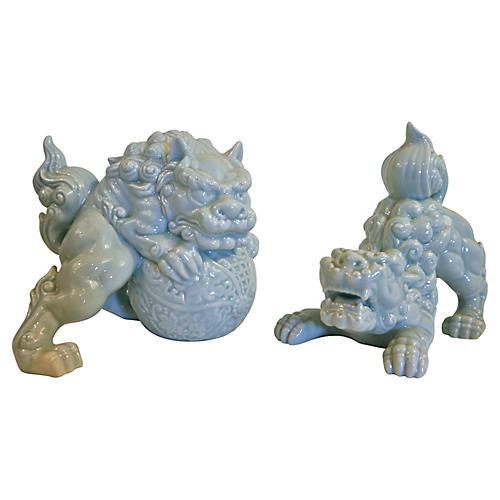 Crouching Porcelain Foo Dogs, Pair