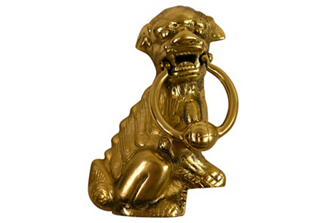 Solid Brass Foo Dog Door Knocker