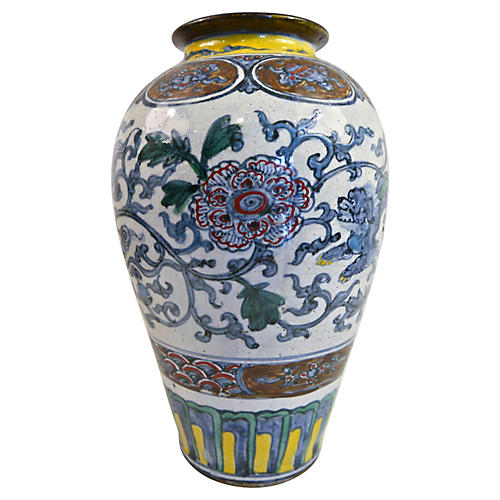 Hand-Painted Foo Dog Vase