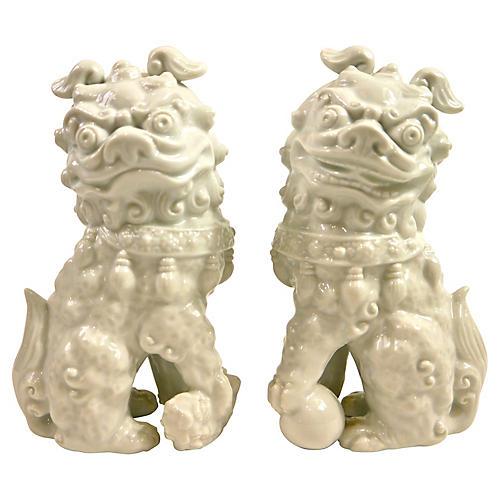 White Porcelain Foo Dogs, S/2