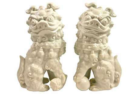 White Porcelain Foo Dogs, S/2
