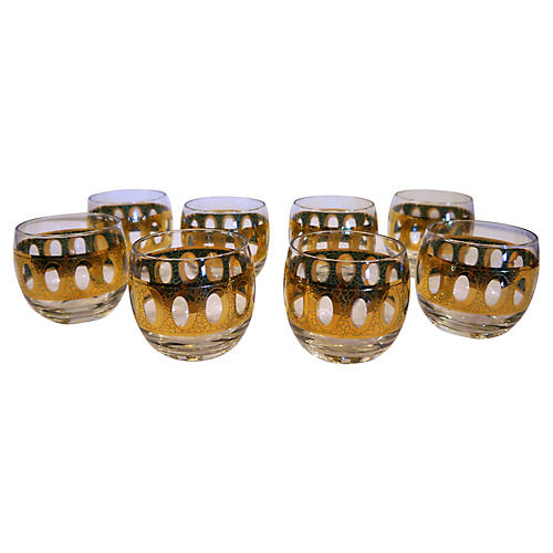 1960s Gold Roly Poly Tumblers, S/8