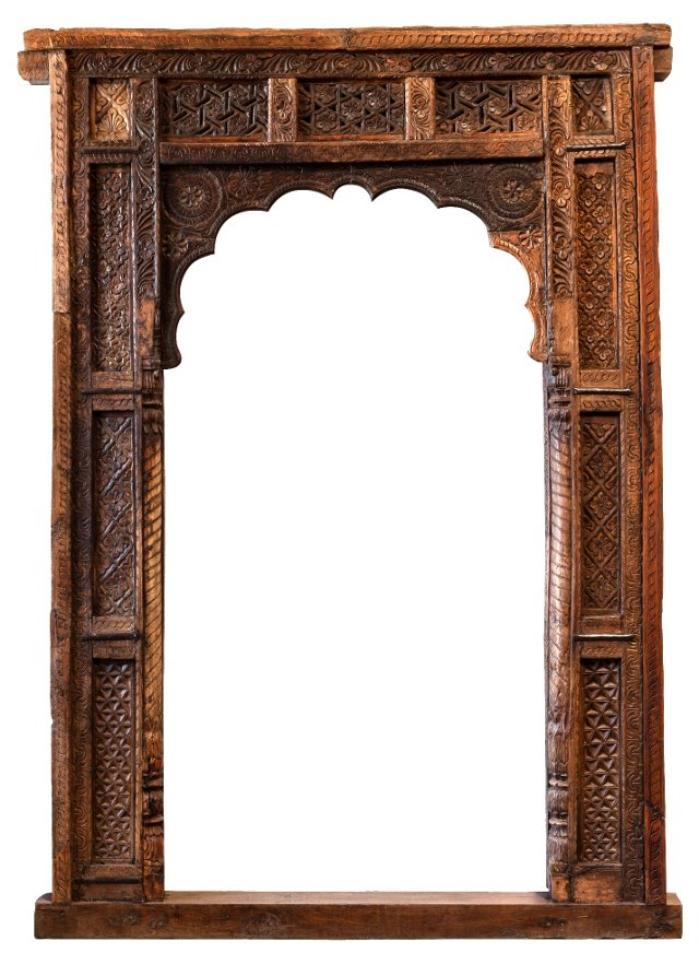 19th-C. Carved Teak  Archway