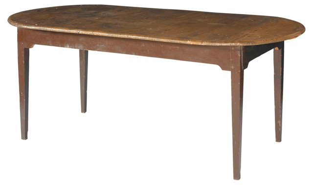19th-C. English Pine Oval Table
