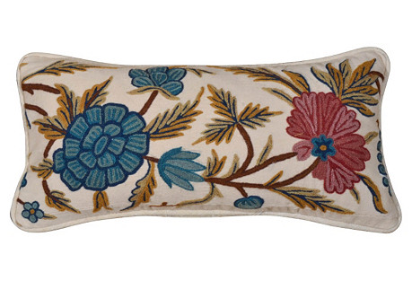 Pillow w/   19th-C. Crewelwork