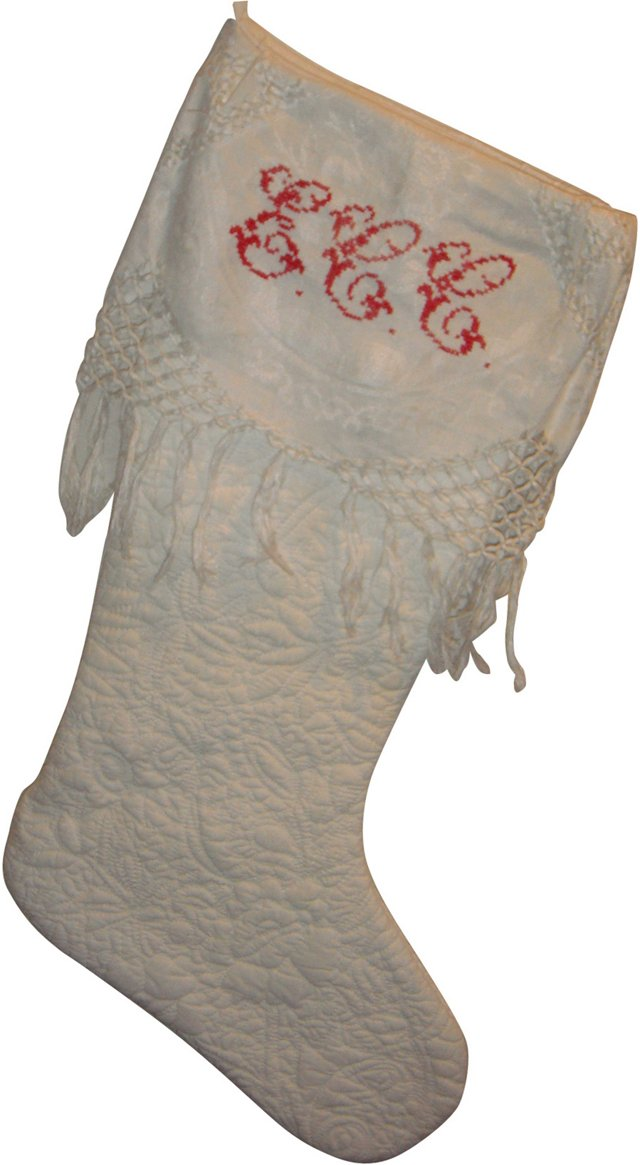 Antique French Linen & Quilt Stocking