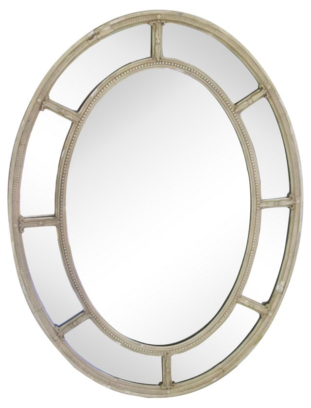 19th-C French Oval Mirror