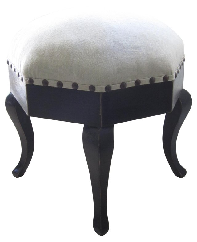 Octagonal French Upholstered Ottoman