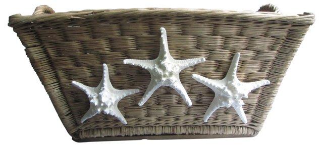 French Willow Basket  w/ Starfish