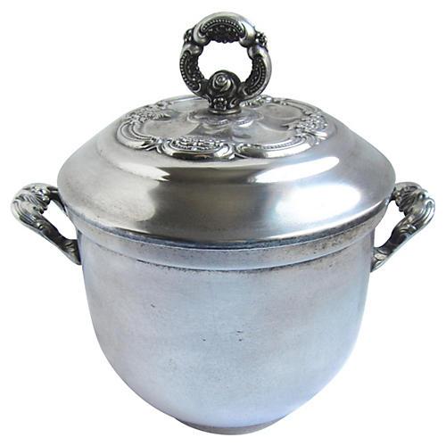 1950s Silver-Plate Ice Bucket w/Handles