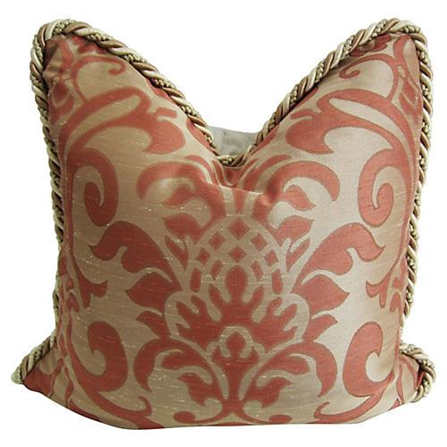 Italian Persimmon/Gold Damask Pillow