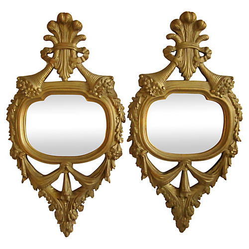 Antique French Giltwood Mirrors, Pair