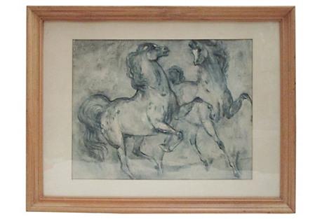 Framed Wild Horses at Play