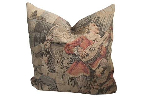 19th-C. French Tapestry Pillow
