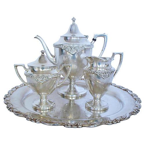 English Silver Coffee Service, S/4