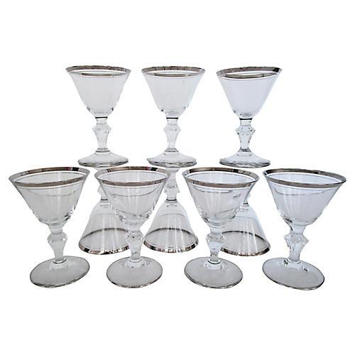 Silver-Rimmed Liqueur Glasses, S/10