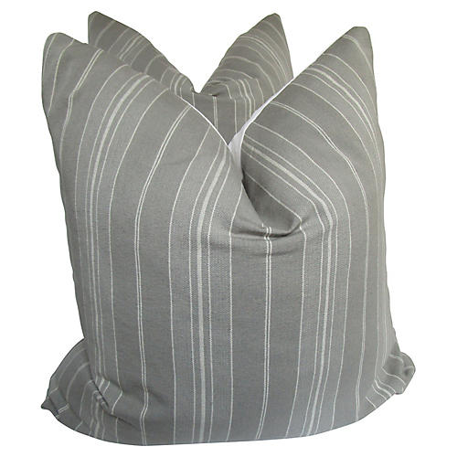French Gray Ticking Pillows, S/2