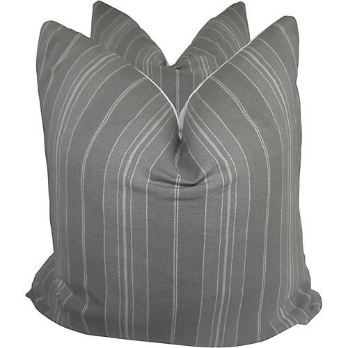 European Gray Ticking Pillows, S/2