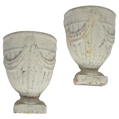 French Concrete Wall Planters, Pair