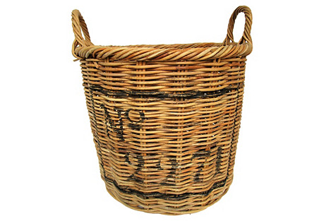 Round French Willow Laundry Basket