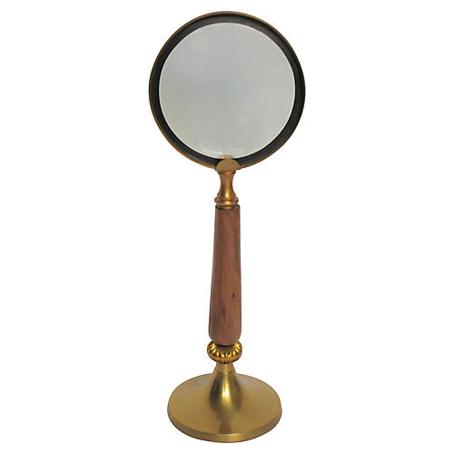 1960s Magnifying Glass on Brass Stand