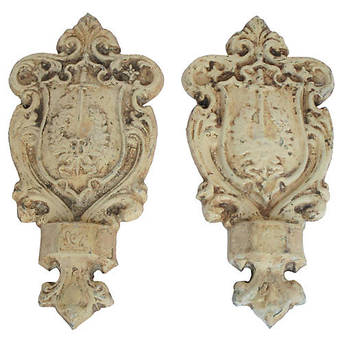 Antique French Zinc Crest Fragments