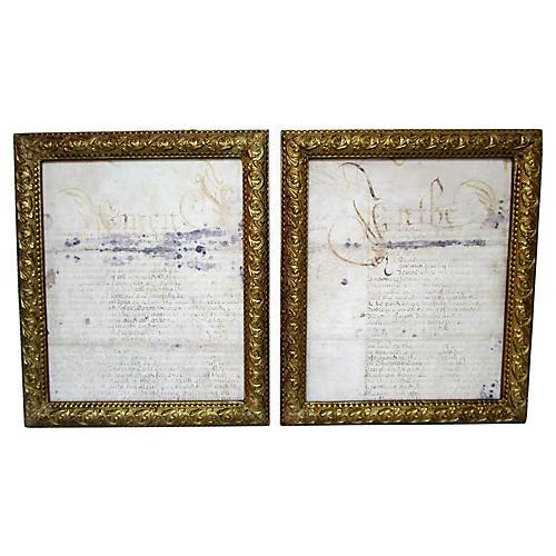 18th-C. Framed British Script Fragments