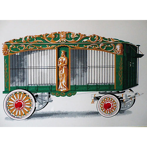 French Framed Circus Wagon Print