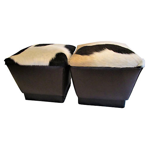 Leather Hair-on Hide Poufs, Pair