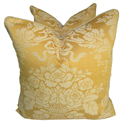 Gold Floral Damask Pillows, S/2