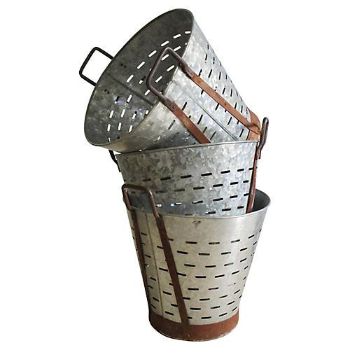 Zinc Harvest Baskets, S/3