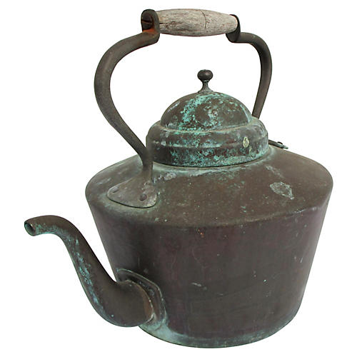 French Patinated Copper Kettle