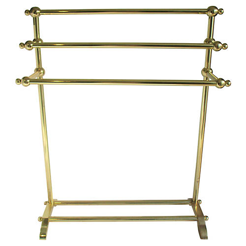 Tiered Solid Brass Towel Stand