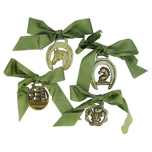 Brass Horse Ornaments, S/4
