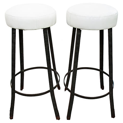 White Leather Factory Barstools, Pair