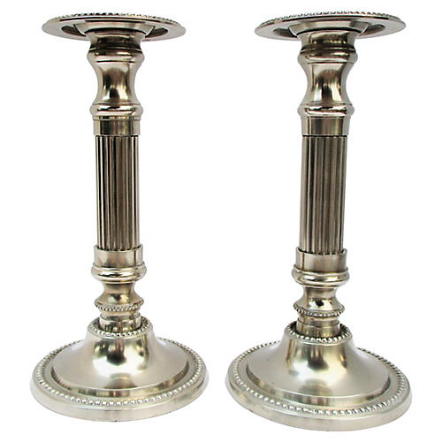 Polished Silver Candlesticks, S/2