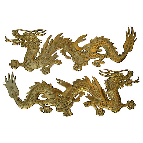 Chinese Brass Dragons, Pair