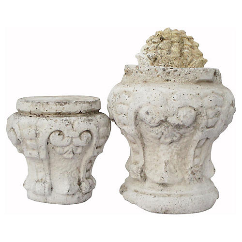 French Architectural Fragments, 2 Pcs