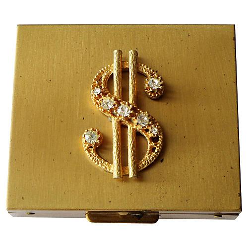 1950s Rhinestone Money Compact