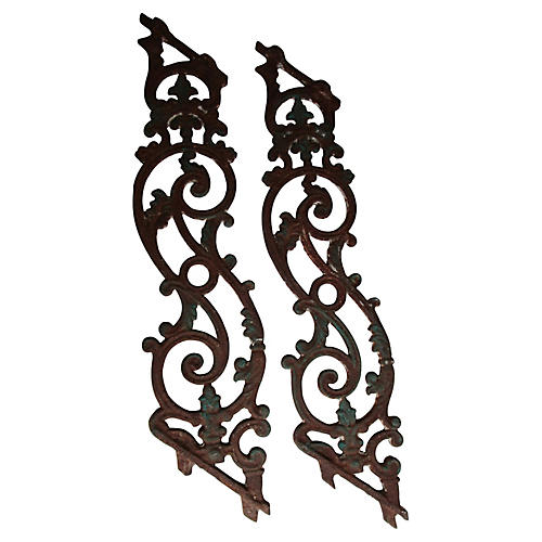 French Architectural Iron Railings, S/2